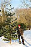Man Holding Christmas Tree and Handsaw Stock Photo - Premium Rights-Managed, Artist: ableimages, Code: 822-06302475