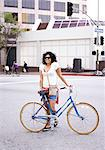 Woman with Bicycle in City Street Stock Photo - Premium Rights-Managed, Artist: ableimages, Code: 822-06302619