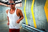 runner (male) - Man Running on Urban Road Stock Photo - Premium Rights-Managednull, Code: 822-06302690