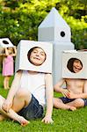 Boys Wearing Homemade Cardboard Helmets Stock Photo - Premium Rights-Managed, Artist: ableimages, Code: 822-06302721