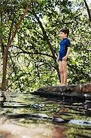 Boy standing by river in forest Stock Photo - Premium Royalty-Freenull, Code: 649-06305348