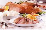 Roast goose with dumplings and oranges Stock Photo - Premium Royalty-Free, Artist: Robert Harding Images, Code: 659-06306239