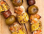 Shrimp, Corn, Sausage and Potato Kabobs Stock Photo - Premium Royalty-Freenull, Code: 659-06306674