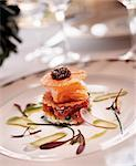 Salmon and Caviar Appetizer on a White Plate Stock Photo - Premium Royalty-Free, Artist: Cultura RM, Code: 659-06306692