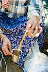 A tea picker drinking tea (Kerala, India) Stock Photo - Premium Royalty-Free, Artist: Robert Harding Images, Code: 659-06307154