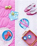 A picnic basket, fruit, napkins and shoes on a rug Stock Photo - Premium Royalty-Free, Artist: Gianni Siragusa, Code: 659-06307301