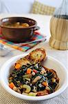 Black cabbage, bean and crostini stew (Tuscany, Italy) Stock Photo - Premium Royalty-Freenull, Code: 659-06307562
