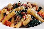 Rigatoni with spinach, sausage and tomatoes Stock Photo - Premium Royalty-Free, Artist: Glowimages, Code: 659-06307803