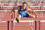 Male hurdler clearing hurdles Stock Photo - Premium Royalty-Free, Artist: Aflo Sport, Code: 614-06311627