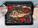 Roasted dorade fish meal on tray Stock Photo - Premium Royalty-Free, Artist: John Cullen, Code: 614-06312071