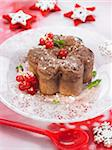 Chocolate cake with redcurrants and mint Stock Photo - Premium Rights-Managed, Artist: Photocuisine, Code: 825-06316807