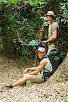 Hikers taking a break in woods Stock Photo - Premium Royalty-Freenull, Code: 632-06317101