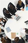 Business associates in meeting, overhead view Stock Photo - Premium Royalty-Free, Artist: ableimages, Code: 632-06317401
