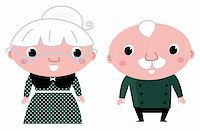 Grandparents - standing stylized seniors. Vector cartoon Stock Photo - Royalty-Freenull, Code: 400-06325656