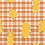 Seamless pattern with applications in the shape of an animal on checkered background Stock Photo - Royalty-Free, Artist: Linusy                        , Code: 400-06325724