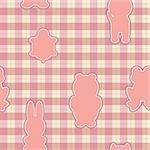 Seamless pattern with applications in the shape of an animal on checkered background Stock Photo - Royalty-Free, Artist: Linusy                        , Code: 400-06325725