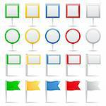 Set of map markers and flags, vector eps10 illustration Stock Photo - Royalty-Free, Artist: _human                        , Code: 400-06325781