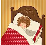 little girl sleep with her toy Stock Photo - Royalty-Free, Artist: balasoiu                      , Code: 400-06325791