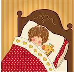 little girl sleep with her toy Stock Photo - Royalty-Free, Artist: balasoiu                      , Code: 400-06325792