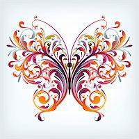illustration drawing of abstract butterfly Stock Photo - Royalty-Freenull, Code: 400-06325942