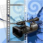 Illustration video camera on background of the film