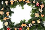 chritsmas background with xmas cookies isolated on the white background Stock Photo - Royalty-Free, Artist: jonnysek                      , Code: 400-06326375