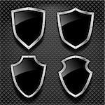 Vector set of black shields on metallic background Stock Photo - Royalty-Free, Artist: kumer                         , Code: 400-06326387