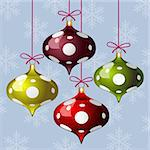 Christmas background with three colorful polka dot balls and snowflakes, vector illustration Stock Photo - Royalty-Free, Artist: ElaKwasniewski                , Code: 400-06326416
