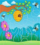 Bee theme maze - vector illustration. Stock Photo - Royalty-Free, Artist: clairev                       , Code: 400-06326501