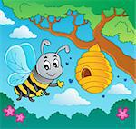 Cartoon bee with hive - vector illustration. Stock Photo - Royalty-Free, Artist: clairev                       , Code: 400-06326506