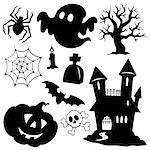 Halloween silhouettes collection 1 - vector illustration. Stock Photo - Royalty-Free, Artist: clairev                       , Code: 400-06326526