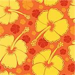 Hibiscus seamless background 2 - vector illustration. Stock Photo - Royalty-Free, Artist: clairev                       , Code: 400-06326528