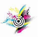 Creative CMYK design with target and floral Stock Photo - Royalty-Free, Artist: SNR                           , Code: 400-06326545
