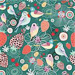 Seamless floral pattern with birds and berries on a green background Stock Photo - Royalty-Free, Artist: tanor                         , Code: 400-06326580