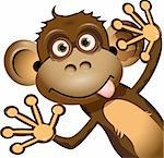 illustration a brown monkey on a white background Stock Photo - Royalty-Free, Artist: Brux                          , Code: 400-06326880
