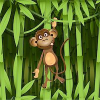 illustration, a brown monkey in the jungle Stock Photo - Royalty-Freenull, Code: 400-06326890