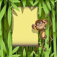 illustration, a brown monkey in the jungle Stock Photo - Royalty-Freenull, Code: 400-06326891