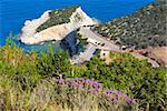 Flowers and summer Porto Katsiki beach on Ionian Sea (Lefkada, Greece) view from up Stock Photo - Royalty-Free, Artist: Yuriy                         , Code: 400-06327135