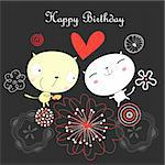 Bright fun greeting card with kittens on a dark background with flowers Stock Photo - Royalty-Free, Artist: tanor                         , Code: 400-06327218