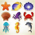 Vector illustration - Sea animals stickers icon set
