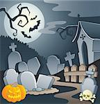 Cemetery theme image 1 - vector illustration. Stock Photo - Royalty-Free, Artist: clairev                       , Code: 400-06327754