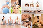 Healthy lifestyle montage of beautiful women, relaxing, working out, smiling at a health spa Stock Photo - Royalty-Free, Artist: darrenbaker                   , Code: 400-06328492
