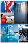 Montage of people hiking and exploring the landscape of Iceland including Skogafoss and Godafoss waterfalls and Jokulsarlon iceberg lake Stock Photo - Royalty-Free, Artist: darrenbaker                   , Code: 400-06328493