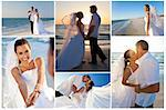 Wedding montage of a married couple, bride and groom, together at sunset on a beautiful tropical beach Stock Photo - Royalty-Free, Artist: darrenbaker                   , Code: 400-06328494