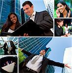 Montage of Interracial business group men & women, businessmen and businesswomen team outdoors Stock Photo - Royalty-Free, Artist: darrenbaker                   , Code: 400-06328495
