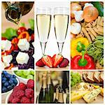 Macro photographs of a fresh food montage salad fruits pasta and cheese with champagne Stock Photo - Royalty-Free, Artist: darrenbaker                   , Code: 400-06328496