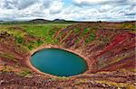 Kerid is a beautiful crater lake of a turquoise color located on the South-West of Iceland. HDR Stock Photo - Royalty-Free, Artist: Fyletto                       , Code: 400-06328664
