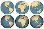 Three views of earth made of aged paper. Thee flat and three with shading.      Stock Photo - Royalty-Free, Artist: samgrandy                     , Code: 400-06330698