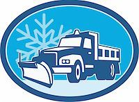 snow plow truck - Illustration of a snow plow truck plowing with winter snow flakes in background set inside circle done in retro style. Stock Photo - Royalty-Freenull, Code: 400-06331945