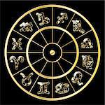 Vector golden circle with zodiac signs on black background